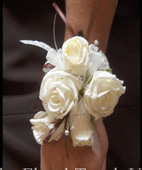 Ivory Roses and Buds Wrist Corsage