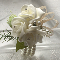 Ivory Rose and foliage Wrist Corsage