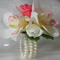 Coral and Ivory Rose & Orchid Wrist Corsage