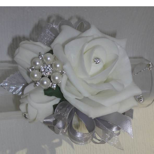 Silver & White Rose & Diamante Wrist Corsage
