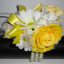 Yellow & White Daisy & Rose Wrist Corsage