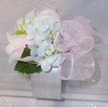 Baby Pink & Ivory Wrist Corsage For Young Flower Girls