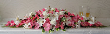 Pink Orchid Top Table Wedding Centrepiece