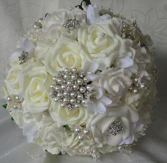 Ivory and White Vintage Style Wedding Bouquet