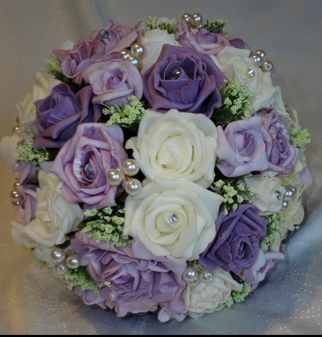 Lavender, Mauve and Ivory Rose Bridal Bouquet