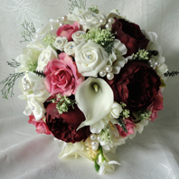 Burgundy, Pink and Ivory Real Touch Bridal Bouquet