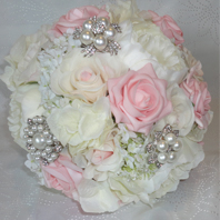 Baby Pink & Ivory Brooch Bridal Bouquet