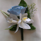 Baby Blue Rose & White Dendrobium Orchid Buttonhole