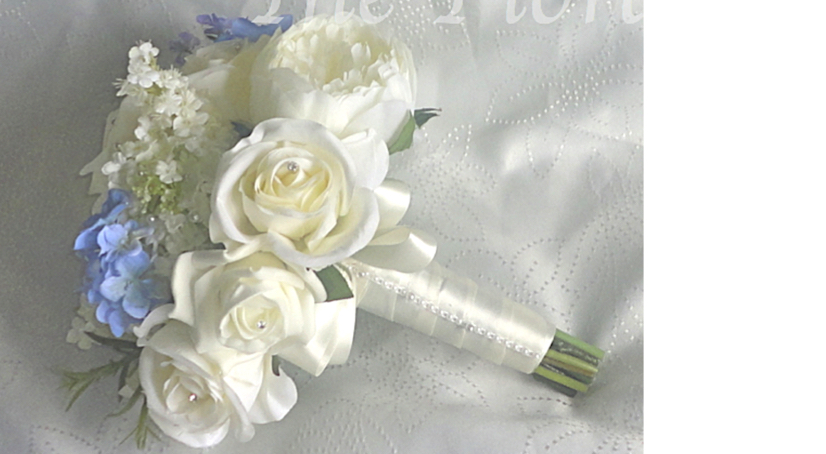 Ivory & Periwinkle Peony, Rose and Snowball Bridesmaid Bouquet