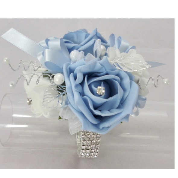 Baby Blue & White Bling Corsage