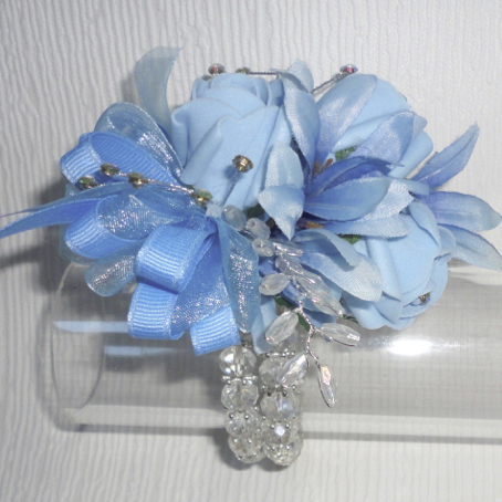 Baby Blue Rose Bud & Crystal Wrist Corsage