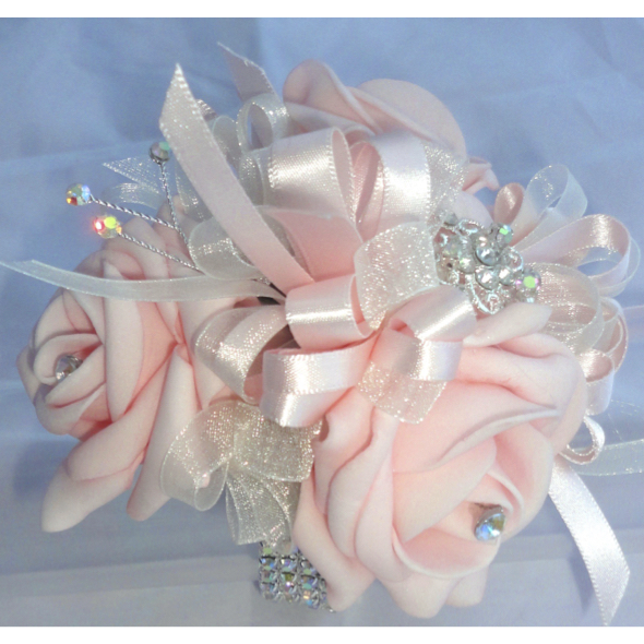 Baby Pink Rose & Crystal Wrist Corsage