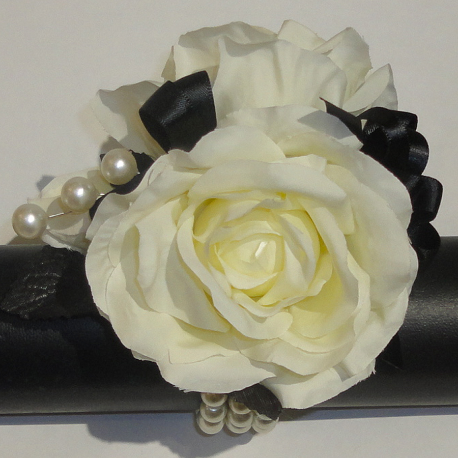Cream Silk Rose Wrist Corsage