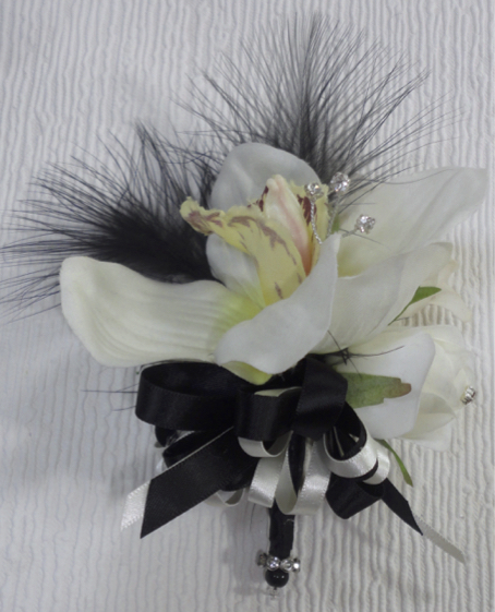 Black & Ivory Feather & Orchid & Rose Corsage