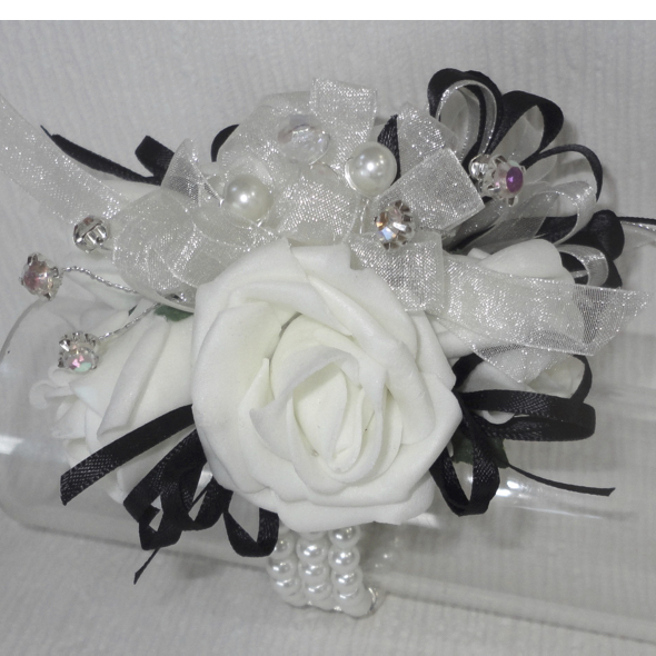Black & White Sparkle Wrist Corsage