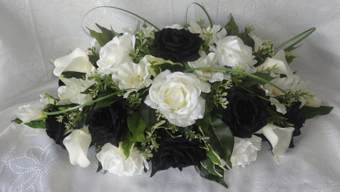 Black and Ivory Top Table Centrepiece