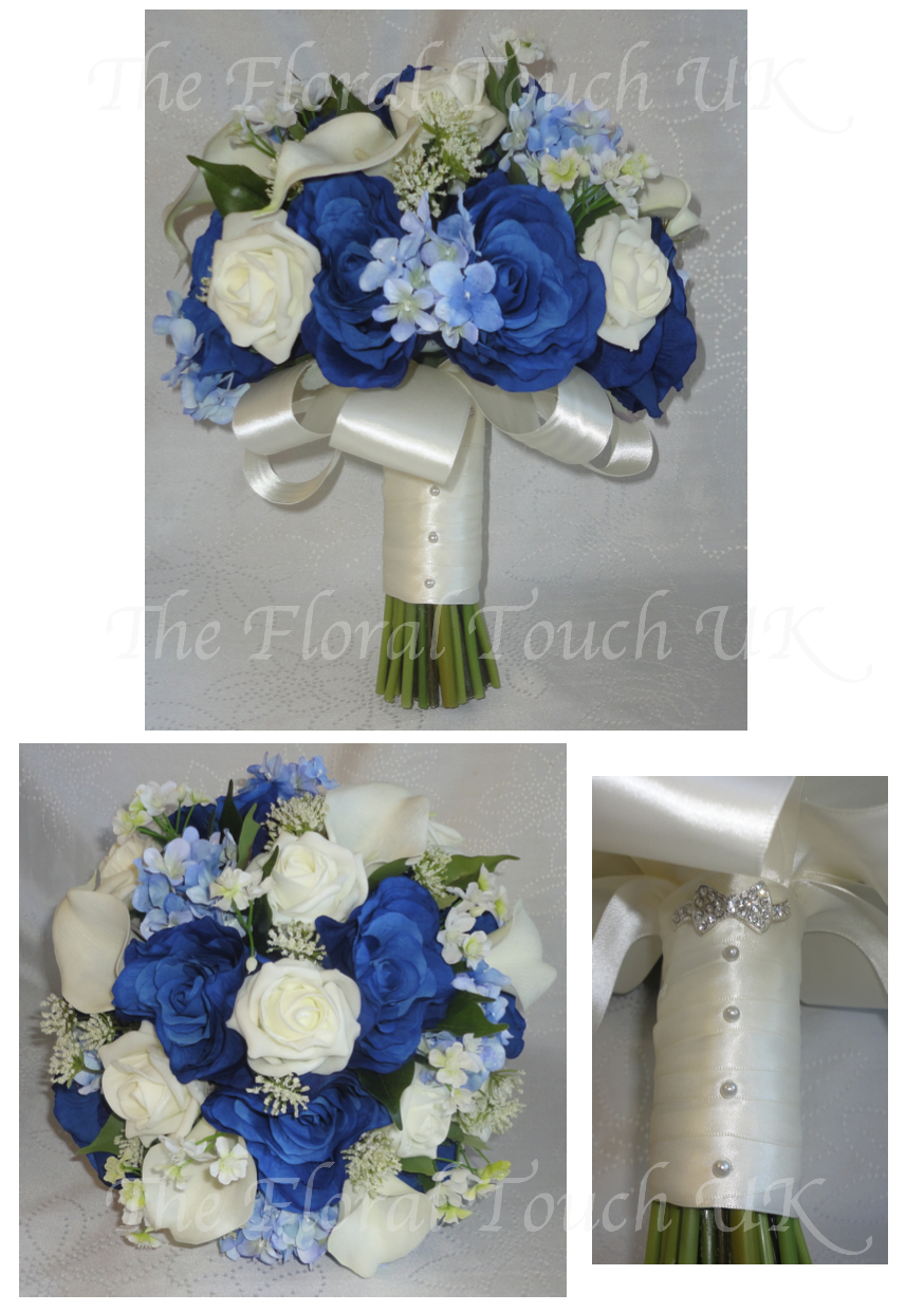 Silk wedding bouquets the floral touch uk south yorkshire midnightroyal blue ivory calla lily rose bridal bouquet izmirmasajfo