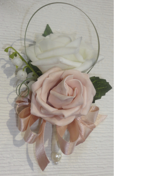 Blush and Ivory Pin On Corsage