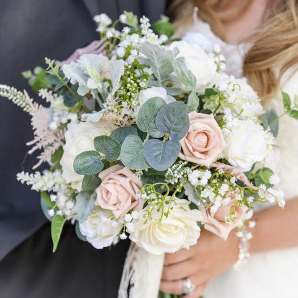 Large Blush & Ivory Vintage Rustic Inspired Wedding Bouquet