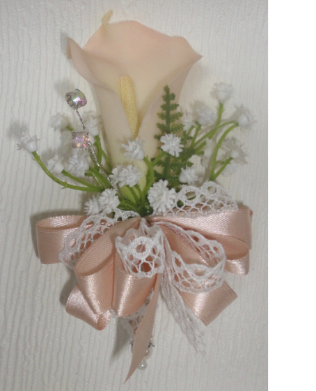 Real Touch Blush Calla Lily & Gypsophila Corsage