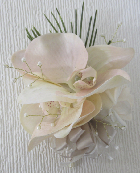 Blush Real Touch Orchid & Pearl Corsage