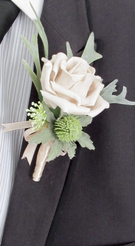 Blush Rose & Thistle Buttonhole