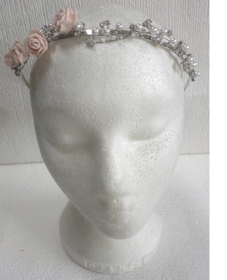 Blush & Silver Diamante & Pearl Bridesmaid Headband