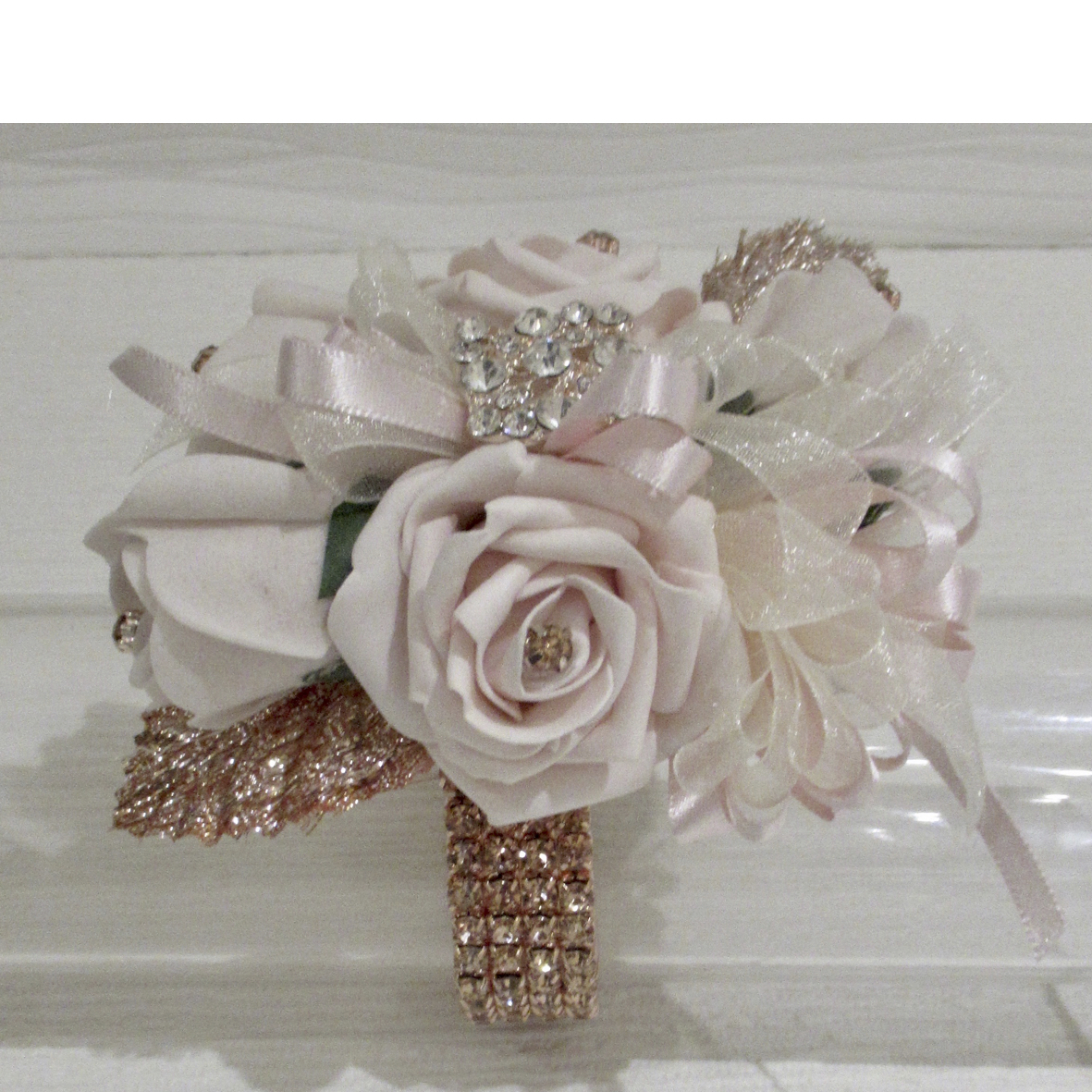Pale Blush Pink & Rose Gold Wrist Corsage