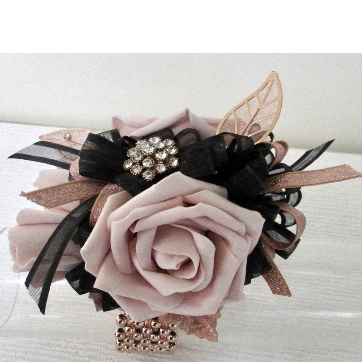 Blush & Black Wrist Corsage with Rose Gold Embellishments