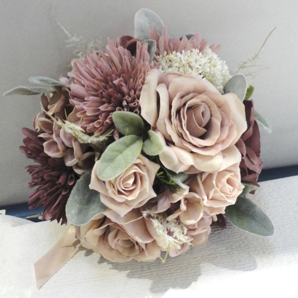 Blush, Dusky Pink & Dusky Wine Bridal Bouquet