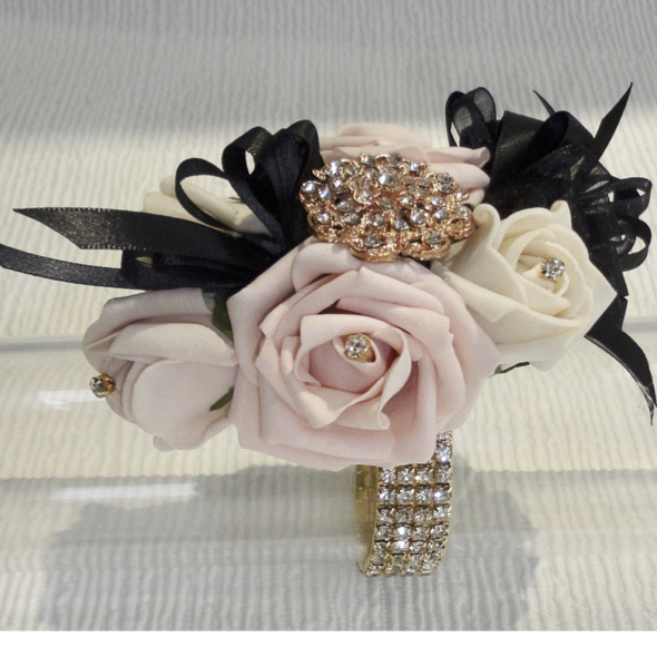 Blush, Nude & Black Wrist Corsage with Gold Diamante
