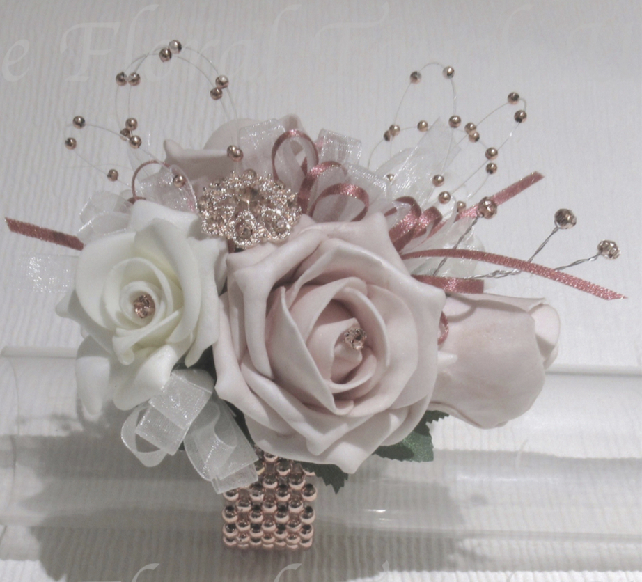 Pale Blush, Ivory & Rose Gold Wrist Corsage With Rose Gold Diamante Embellishments & Pearls