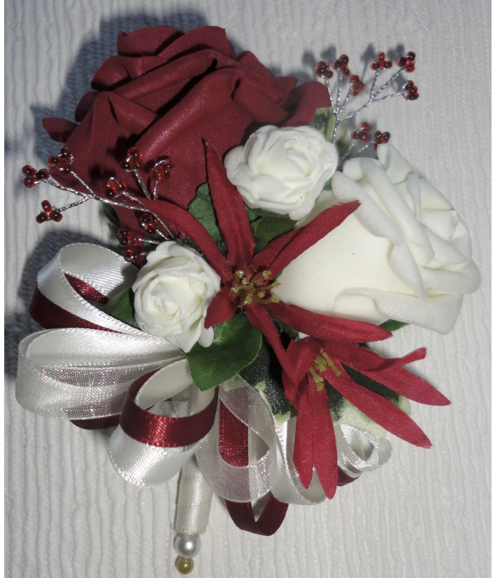 Burgundy & Ivory Rose Corsage with Tweedia & Burgundy Gem Spray