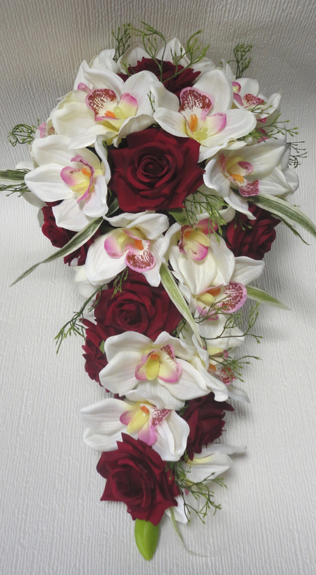 Deep Red & Ivory Orchid Bridal Bouqet