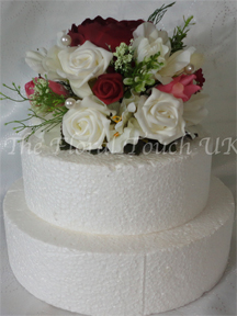Burgundy and Ivory Rose Cake Topper