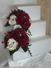 Deep red and Ivory Rose Cake Tier Displays
