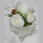 Peony and Rose Corsage with lifelike foliage