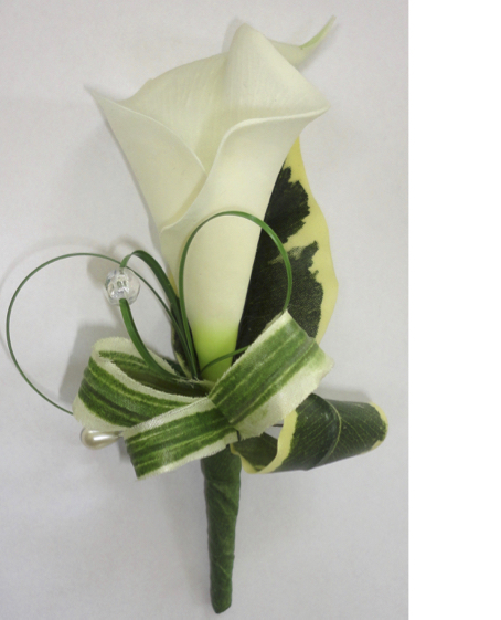 Calla Lily & Coiled Leaf Buttonhole