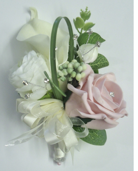 Ranunculus, Rose & Calla Lily Corsage with diamantes