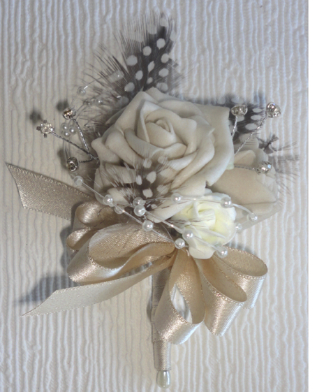 Champagne & Nude Rose & Guinea Feather Corsage