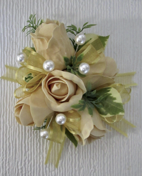 Gold Rose Bud Corsage with pearls