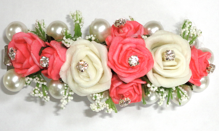 Coral & Ivory Hair Clip
