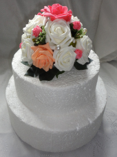Coral, Peach and Ivory Cake Topper