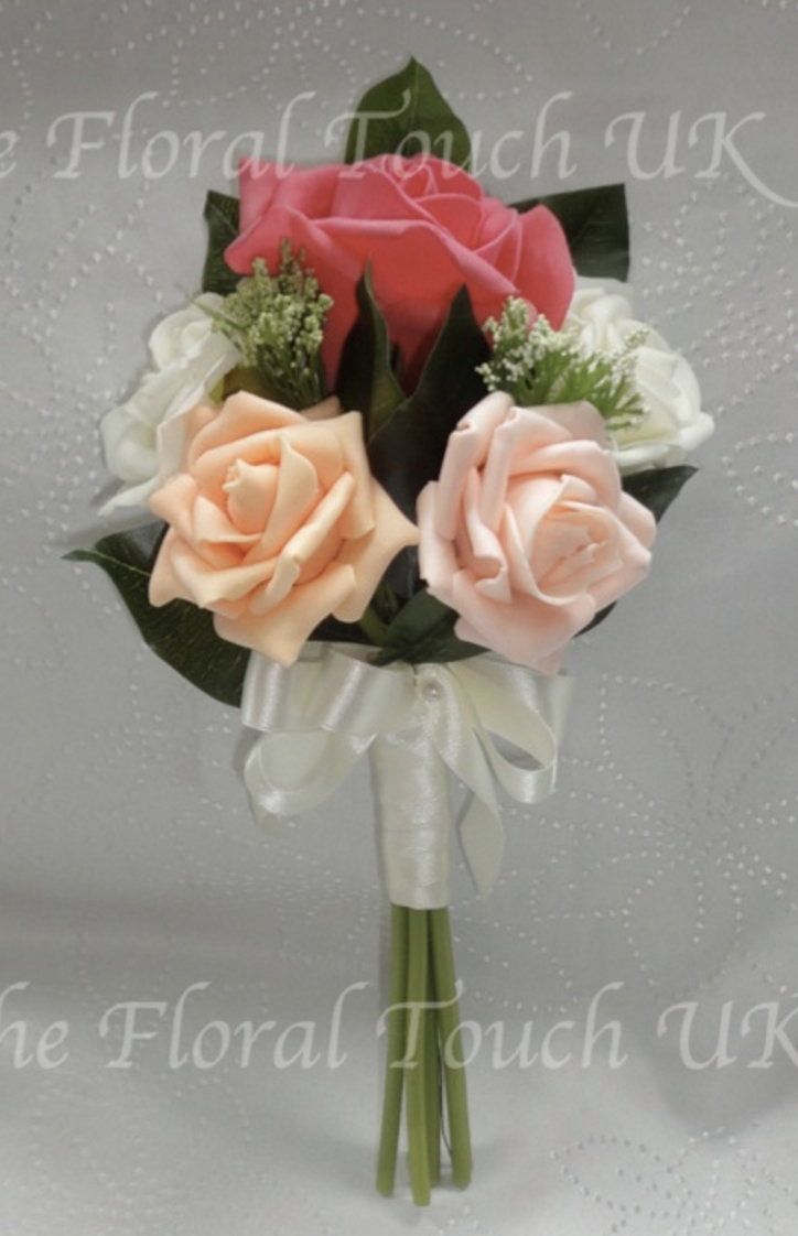 Coral, Peach & Ivory Posy Style Pew End