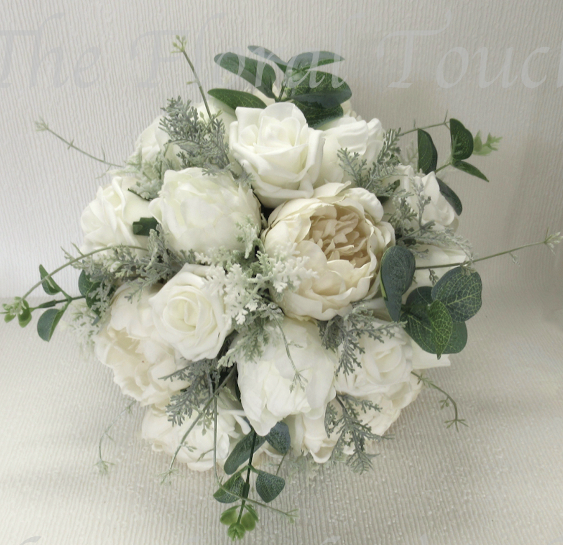 Rose & peony brides bouquet, silk wedding flowers, Ivory Peony & Rose Bridal Bouquet