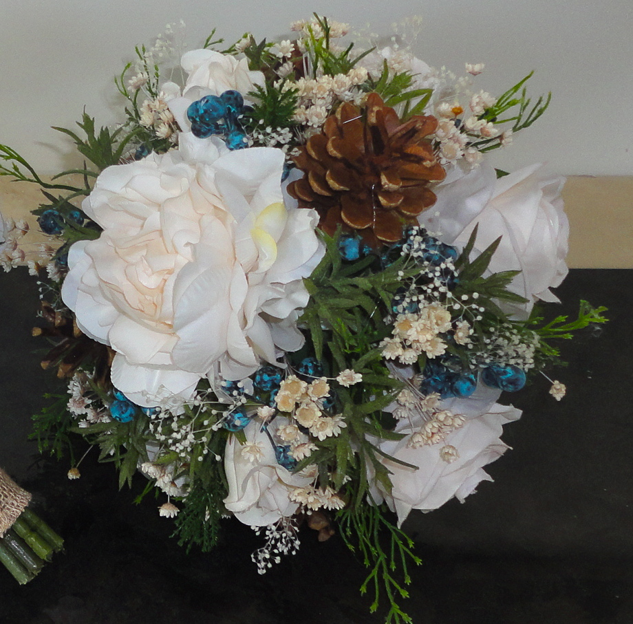 Cream Peony & Rose Bridesmaid Bouquet With Pine Cones