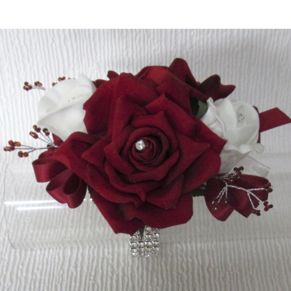 Deep Red & White Prom Wrist Corsage