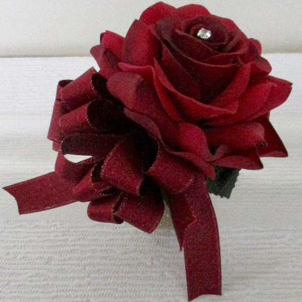 Deep Red Rose Wrist Corsage