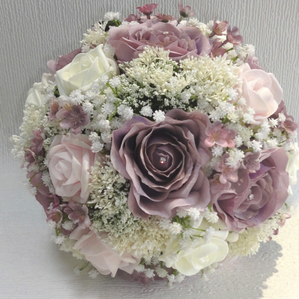 The floral touch uk silk wedding flowers silk bouquets dusky mauve ivory baby pink bridal bouquet with gypsophila mightylinksfo