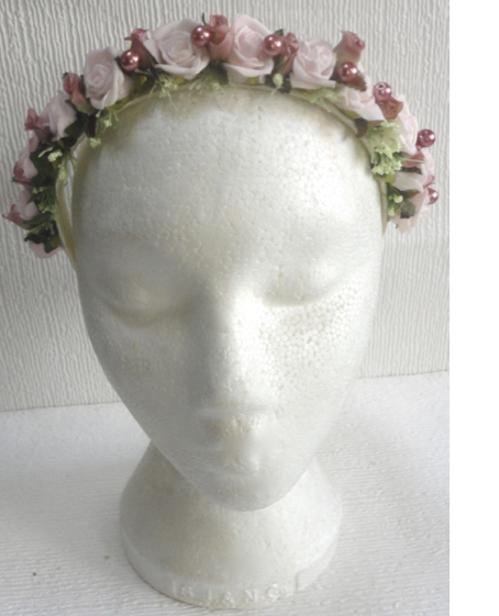 Dusky Pink & light Pink Vintage Style Head Band